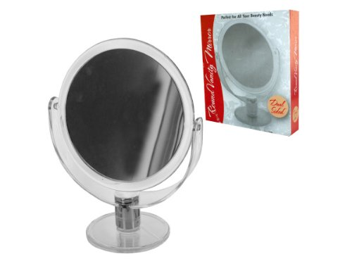 bulk buys OC636 Dual Sided Round Stand Up Vanity Mirror, Transparent, Silver