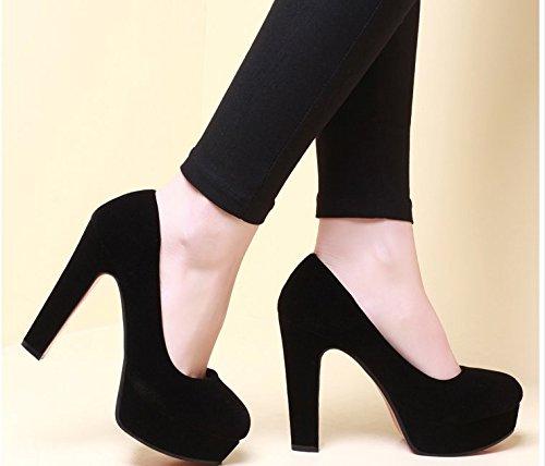 khskx-round negro Shallow boca zapatos de la mujer zapatos de talón y el talón zapatos negro profesional de mesa impermeable, Thirty-nine Thirty-eight