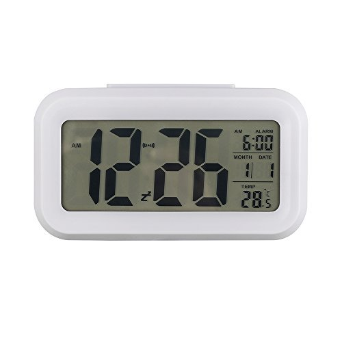 "UPC 713741824247, Anmire Progressively Louder Wakey Digital Alarm Clock, Silent with Sensor Light + Night Light Repeating Snooze Date Temperature 5.4 "" Large LCD display (White)"