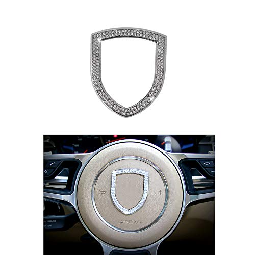 Thor-Ind Steering Wheel Logo Badge Emblem Cover Sticker for Porsche Panamera Cayenne Macan Boxster Cayman 911 718 Diamond Decoration Frame (Steering Wheel Logo)