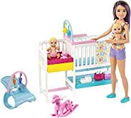 Barbie Nursery Playset with Skipper Babysitters Inc. Doll, 2 Baby Dolls, Crib and 10+ Pieces of Working Baby G