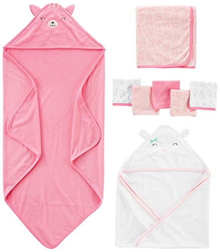 Simple Joys by Carter's Baby Girls' 8-Piece Towel and Washcloth Set, Pink/White, One Size 1 Piece Hood