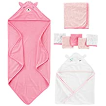 Simple Joys by Carter's Baby Girls' 8-Piece Towel and Washcloth Set, Pink/White, One Size