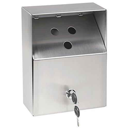 Cam Lock Stainless Steel Urn (Crown Verity AT-001 Small Stainless Steel Outdoor Wall-Mount Urn with Keyed Cam Lock)