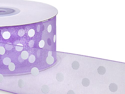 Pack Of 1, Lavender Organza Sheer Ribbon W/White Printed Polka Dots 1-1/2