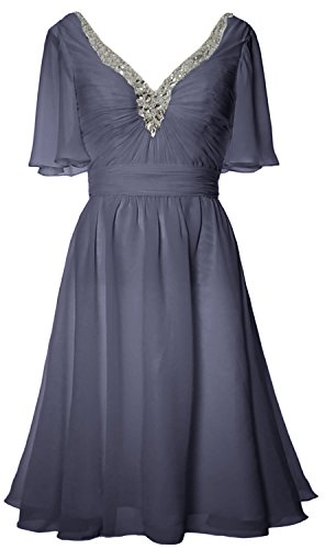 Blue Gown Formal Dress Mother Steel Evening Sleeves Women Bride Short Neck of V MACloth fp6qO6