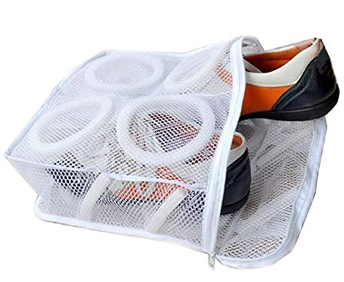 - Rustless Zipper Mesh Shoes Wash Bag Washing Or Drying Womens Gym Shoe,Sneaker Trainers Footwear Durable Padded Net Laundry Storage Pouch Organizer Underwear,Bra,Lingerie,Socks Camping Gear Square