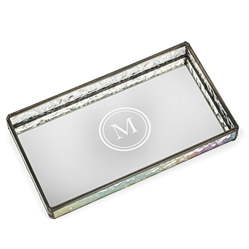 J Devlin TRA 101 ET104 Personalized Glass Jewelry Tray with Mirrored Bottom Engraved Monogram Dresser Vanity Organizer ()