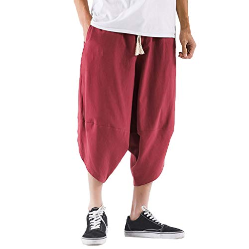 Mens Sweatpants, F_Gotal Men's Linen Casual Solid Drawstring Elastic Waist Harem Pants Sports Pants Trouser with Pockets Wine
