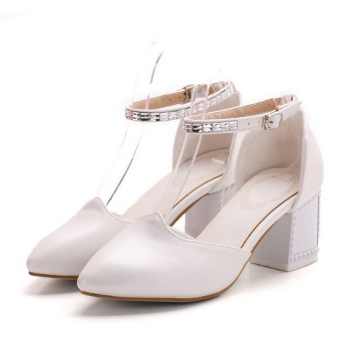Toe Womans Material 7 Sandals B Closed M White Solid WeenFashion Toe Pointed US 5 Heels Soft PU Kitten AIUHdwOPq