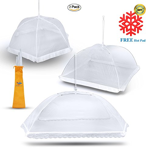 Extra-Large Food Covers (3 Pack) for outdoors and indoor Pop Up Mesh Covers Tents Umbrella in 3 Sizes (one Giant and two XL) plus a Reusable Carry Bag
