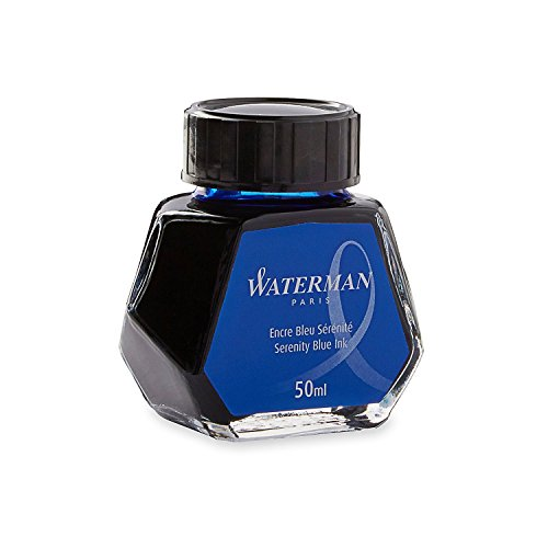 Waterman 50 ml Bottled Liquid Fountain Pen Ink, Serenity Blue (S0110720) (4-Pack)