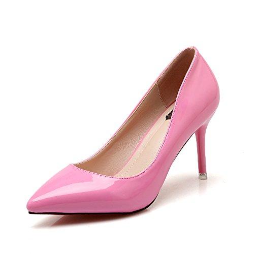 Chfso Mujeres Sexy Charol Low Cut Stiletto Bombas De Punta Estrecha Zapatos Dorsay Rosa