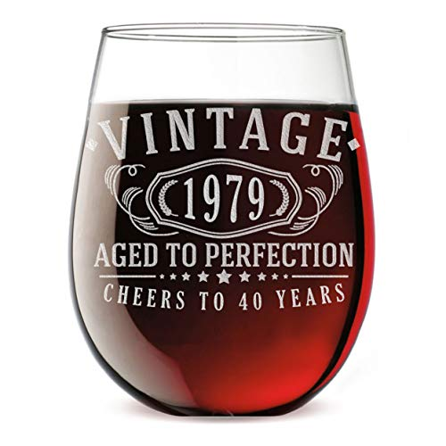 40th Birthday Etched 17oz Stemless Wine Glass - Vintage 1979 Aged to Perfection - 40 years old gifts