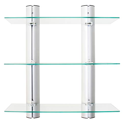 Danya B. HA83163 Bathroom Shelving Unit - Decorative Wall-Mount 3-Tier Adjustable Glass Wall Shelves on Aluminum Bars