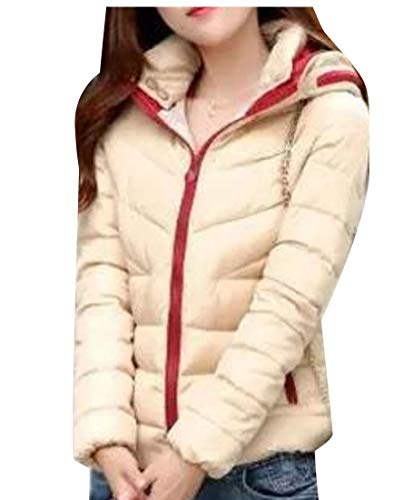 Hooded Ultralight Jacket Down EKU Long Sleeves Womens Packable Khaki Puffer O8W5qSfU