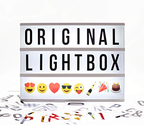Locomocean USB or Battery Operated LED Vintage Cinema Marquee Light Box with 100 Changeable Letters, Numbers & Colour Emoji. Includes Letter Storage for 220 Tiles and USB Lead.