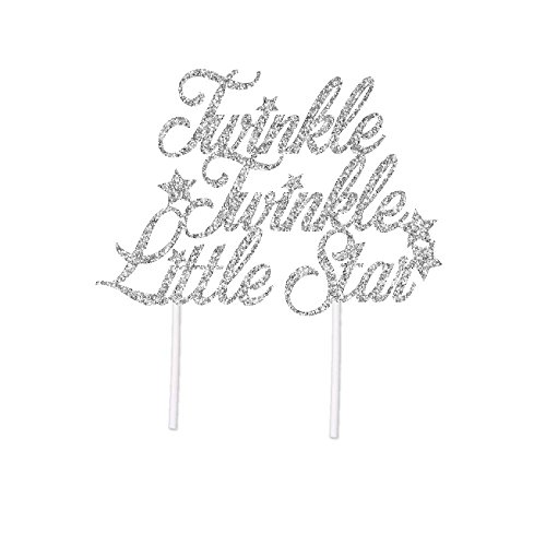Twinkle Twinkle Little Star Cake Topper in Silver Glitter for Baby Shower or Birthday Party