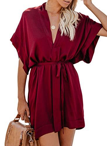 ZKESS Womens Summer V Neck Floral Pattern Casual Boho Kimono Style Party Shift Dress Red-650 Medium