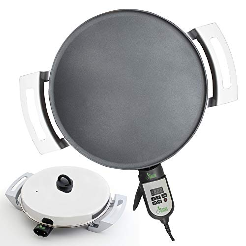 Addis Non-Stick Smart Griddle Mitad Mogogo 16-Inch Electrical Round Griddle for Injera, Pizza Pita Bread Digital Heat Controller Aluminum Plate Even Heat Distribution For USA Canada Use