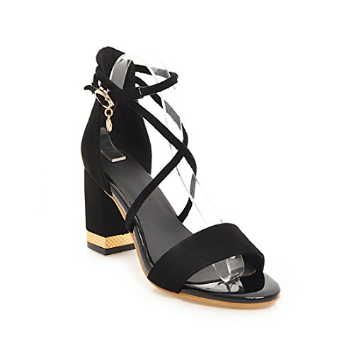 Sandalias Mujer/Sandalia con Pulsera para Mujer/Verano Mujer Zapatos de Tacón Alto de Satén Rocío ranurada-Pack con Grandes Astilleros Sandalias Black