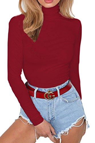 (Almaree Turtleneck Bodysuit for Woman Long Sleeve Basic Leotard Ruby S)
