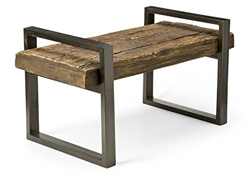Reclaimed Wood and Iron Outdoor Garden Bench Handmade of Recyled Railroad Ties Wood Screwed to Metal Frame - Reclaimed Ties