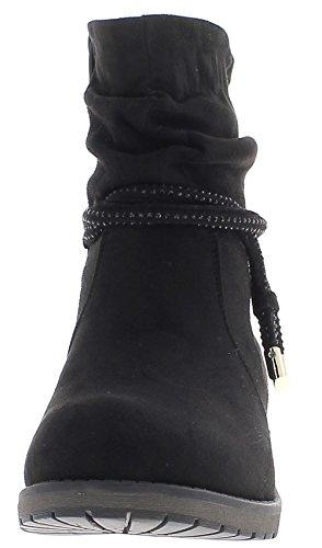 Stivali donna nero con tacco 3,5 cm look in pelle scamosciata con lacci e strass