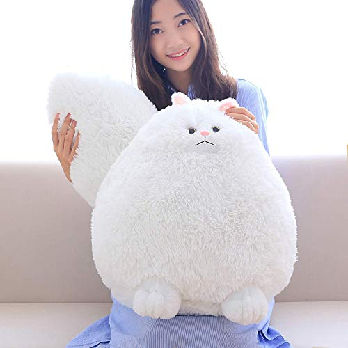 Winsterch Fluffy Giant Cat Stuffed Animal Toy White Plush Cat Toy Kids Gift Baby Doll,20 -
