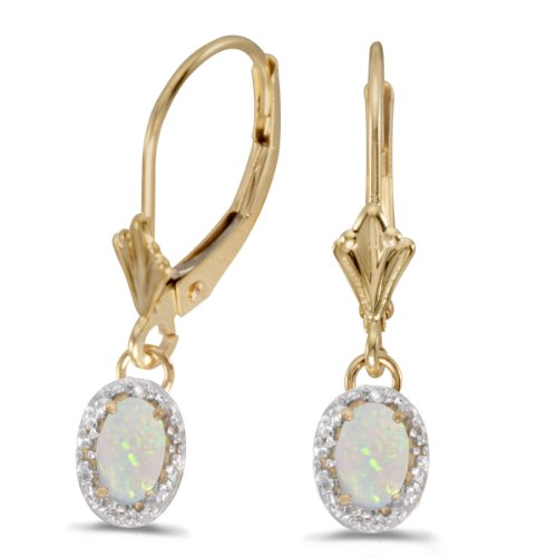 0.94 Carat (ctw) 14k Yellow Gold Oval White Opal and Diamond Halo Dangle Earrings with Lever Back (6 x 4 MM)