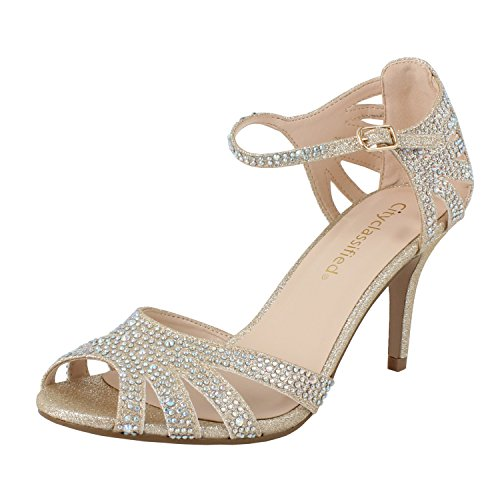 - City Classified Reason Women's Strappy Open Toe Rhinestone Low Heel,Gold,8.5