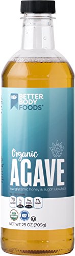 BetterBody Foods Raw Organic Agave Nectar, All Natural Sugar, Syrup or Honey Substitute, Low-Glycemic Sweetener, 25 ()