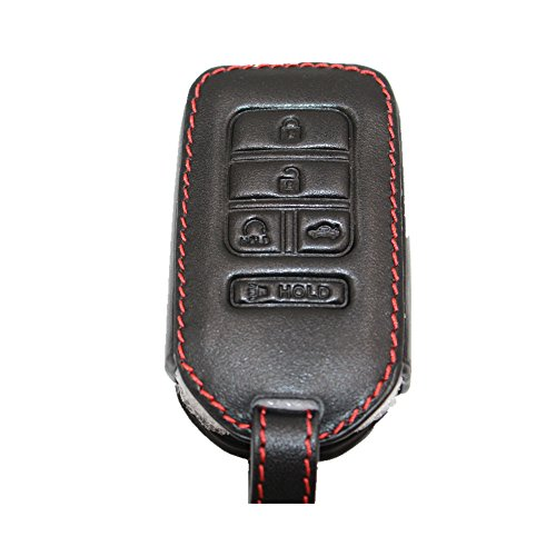 Black Leather Key Cover Case Holder Chain Bag Key Fob Case Cover fit for 2015 2016 2017 Honda ...