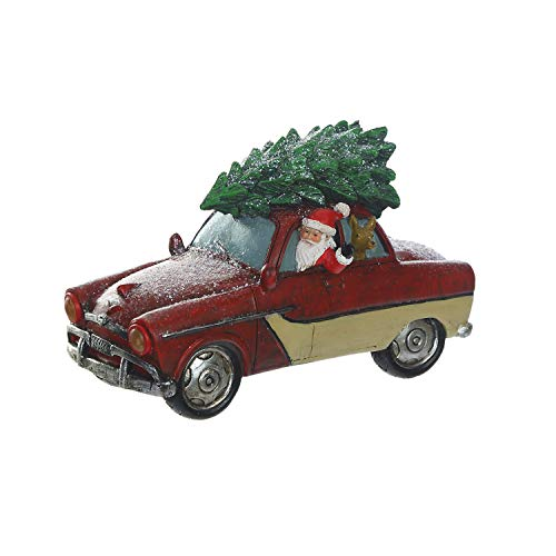 Goose Creek Vintage Red Truck with LED Light Christmas Tree Holiday Santa Ornament Tabe Décor ()