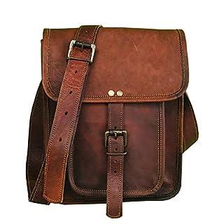 "11"" small Leather messenger bag shoulder bag cross body vintage messenger bag for women & men satchel man purse competible with Ipad and tablet"
