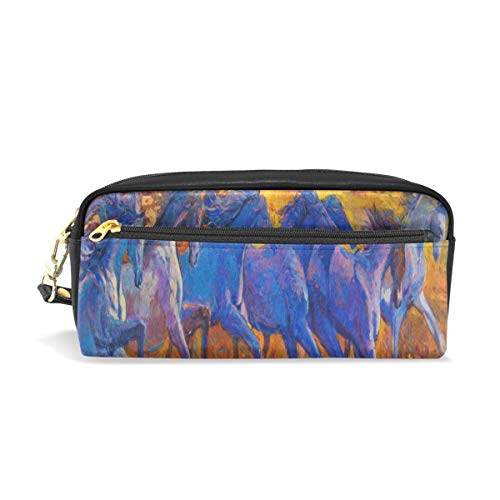 Pencil Case/Makeup Bags Oil Painting Running Horse Art Big Capacity Portable Pencil Bag for College Students/Women/Adults ()