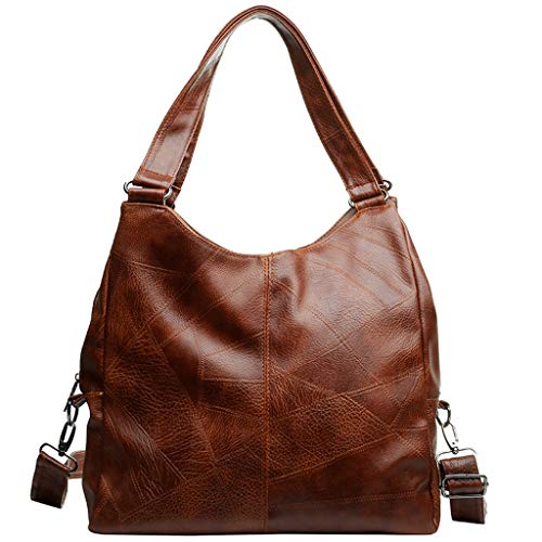 Pengy Women Retro Zipper Shoulder Bag Splice Solid Color Handbags Messenger Bag Shoulder Bag with Detachable Strap
