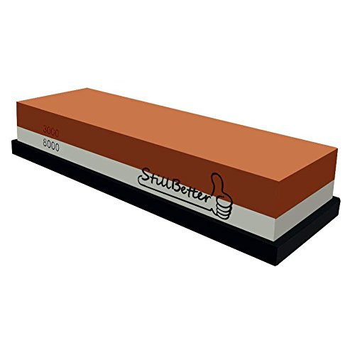 Asian Precision Sushi - Whetstone Knife Sharpening Stone, StillBetter 3000/8000 Grit Combination Waterstone Rubber Stone with Base for Kitchen knives, Tactical knives, Scissors, Razors, Swords, Cleavers, machete and More