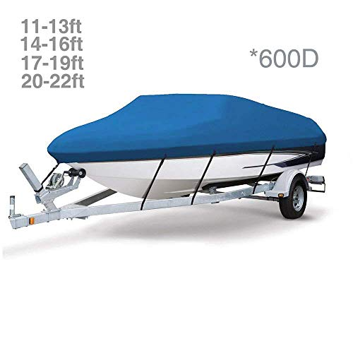 Dulcii 600D Heavy Duty Boat Cover, Waterproof Trailer Tri-Hull V-Hull Runabouts and Bass Boats Cover Jet Ski Covers Boat Covers, Four Sizes for Choose, Blue (17-19Ft)