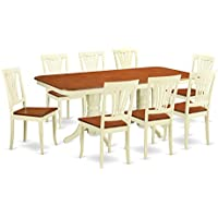 East West Furniture NAAV9-WHI-W 9-Piece Dining Table Set
