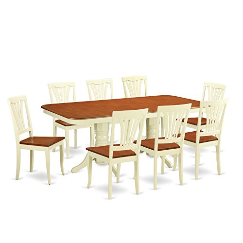 East West Furniture NAAV9-WHI-W 9-Piece Dining Table (Double Pedestal Butterfly Leaf Table)