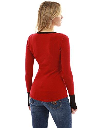 maglione taglio collo del manicotto del collo PattyBoutik di Donne del Nero Rosso lungo E x5nqCwY8
