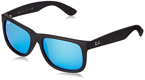 Ray-Ban RB4165 Justin Rectangular Sunglasses, Black Rubber/Blue Mirror, 55 mm (Ban Ray Lenses)