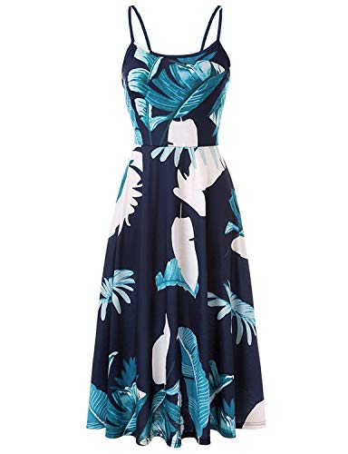 (PIZOFF Women's Palm Print Dress Sleeveless Adjustable Strappy Summer Floral Flared Swing Midi Dress AM071-12-S)