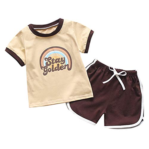 Kid Suit,Baby T Shirt Rainbow Stay Golden O Neck Loose Baby Short Drawstring Pant