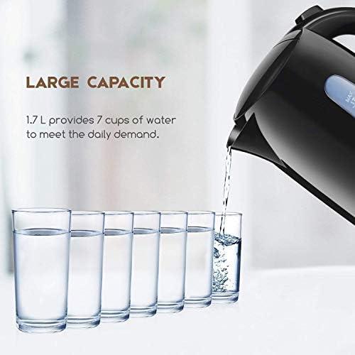 Bouilloire Electrique Aicok 2200W Bouilloire de Chauffage Rapide 1.7L Bouilloire Sans BPA Avec Grande Ouverture, Sans Fil, Niveau Eau Visible, Arrêt Automatique, pour Tisanes, Thé, Café