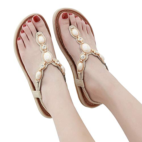 T Décontracté Elegant Tongs Plage Plates Zoerea Flat Femme Strass Bohemia Beige Sandales Chaussures Confort strap Été t1WpwXSq