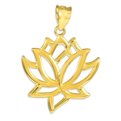 14k Yellow Gold Lotus Flower Pendant