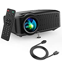 """Video Projector, DBPOWER 120 ANSI Home Projector 176"""" Display 50,000 Hours LED Portable Video Projector 1080P, Compatible with HDMI,AV, USB, SD, Amazon Fire TV Stick for Home Cinema,Black"""