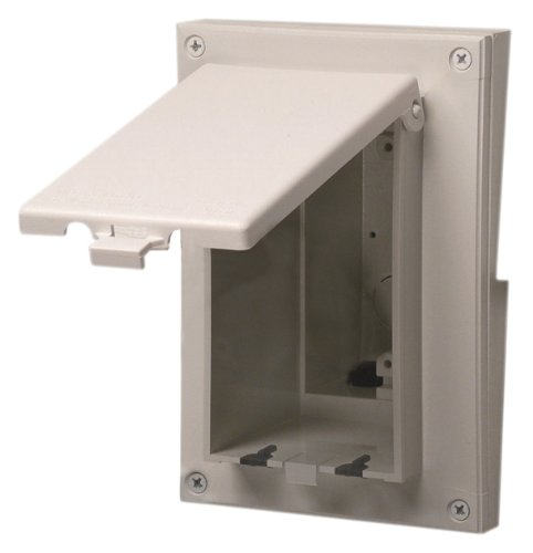 Arlington DBVR141W-1 Low Profile IN BOX Electrical Box with Weatherproof Cover for Retrofit Siding Construction, 1/2-Inch Lap, Vertical, White